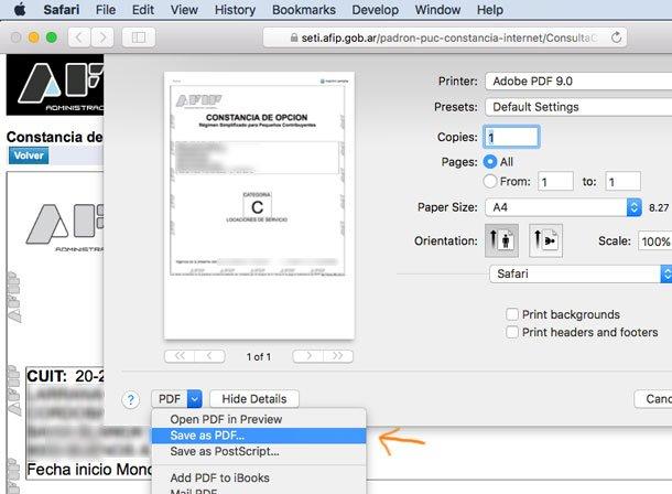 Constancia de CUIT en PDF Mac OSX