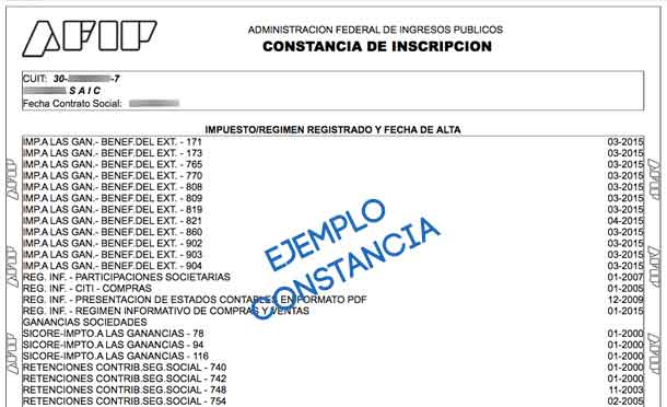 Constancia de Inscripcion AFIP